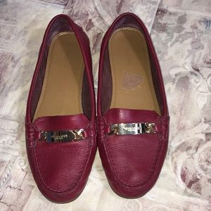 Coach Red Olive Driving Flats Shoes Size 9